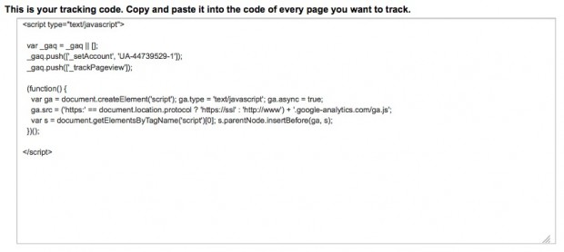 Google Analyics Tracking Code
