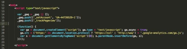 Paste your tracking code after opening body tag