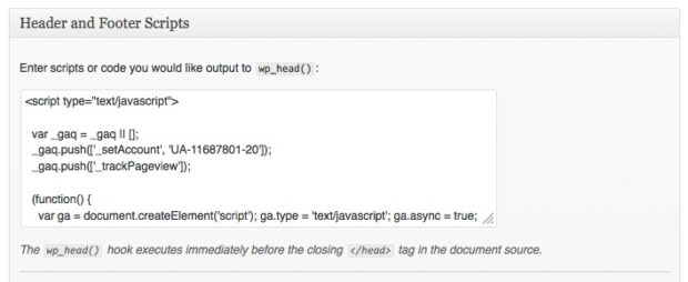 Add tracking code in WordPress theme options