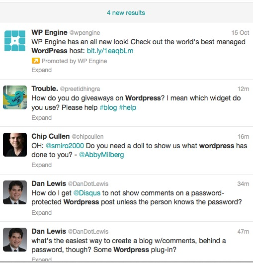 Twitter search results without links and only questions