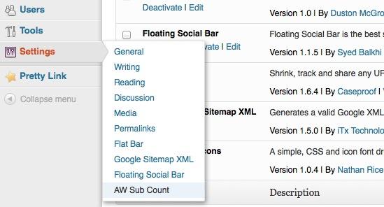 Aweber Subscriber Count Plugin Settings