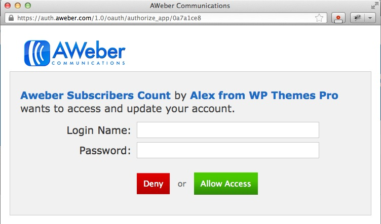 Aweber Authorization Window