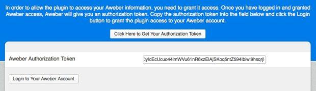 Paste your Aweber authorization token