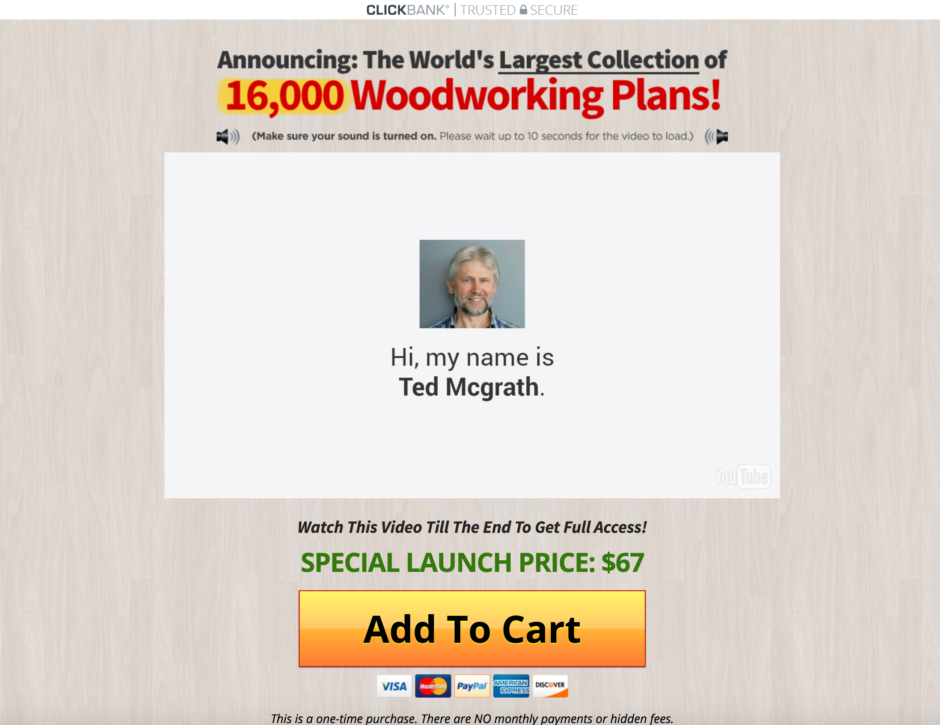 Ted's Woodworking Sales Page